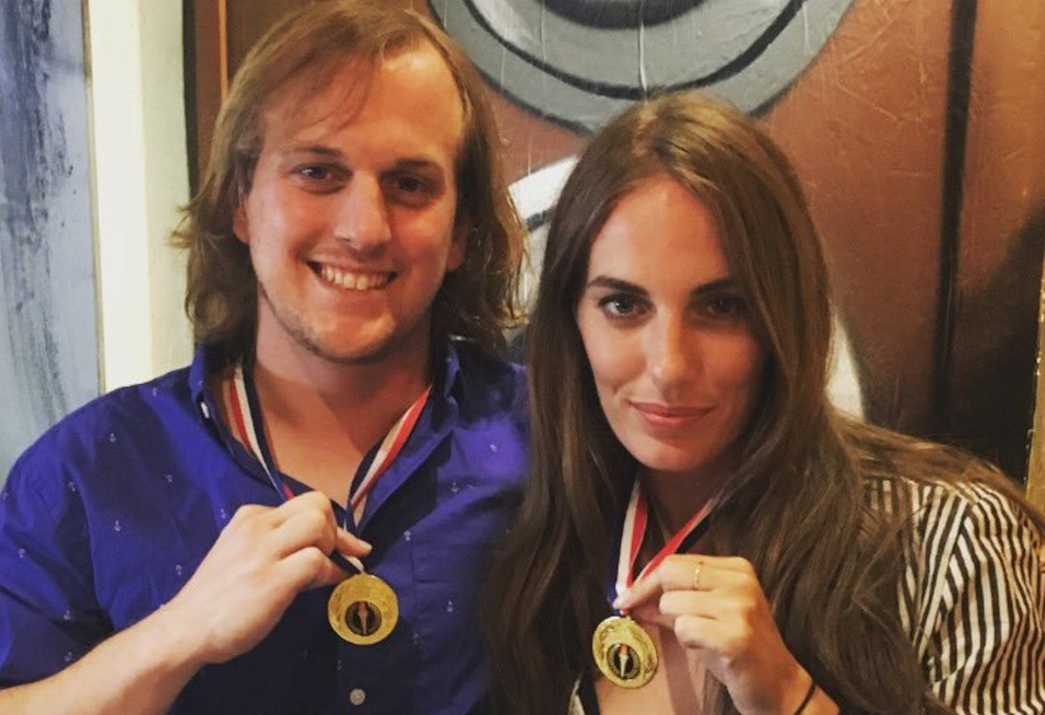 Jenny and Simon show off their medals