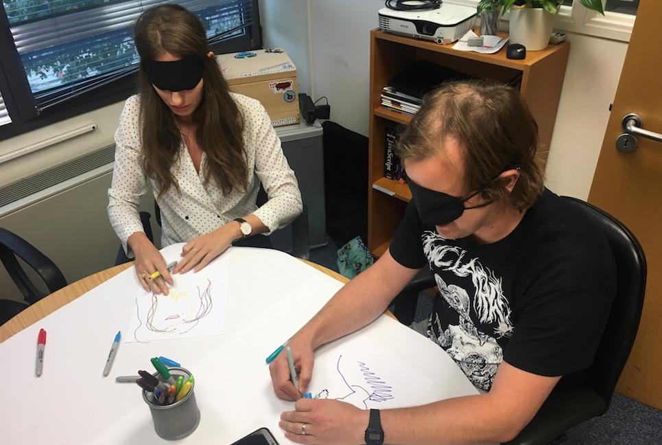 Jenny and Simon blindfolded