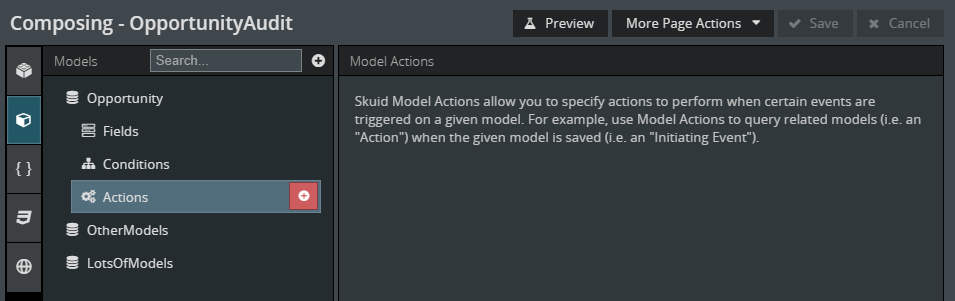 "tether Skuid ""Actions"" onto the data ""Actions"" of a model"