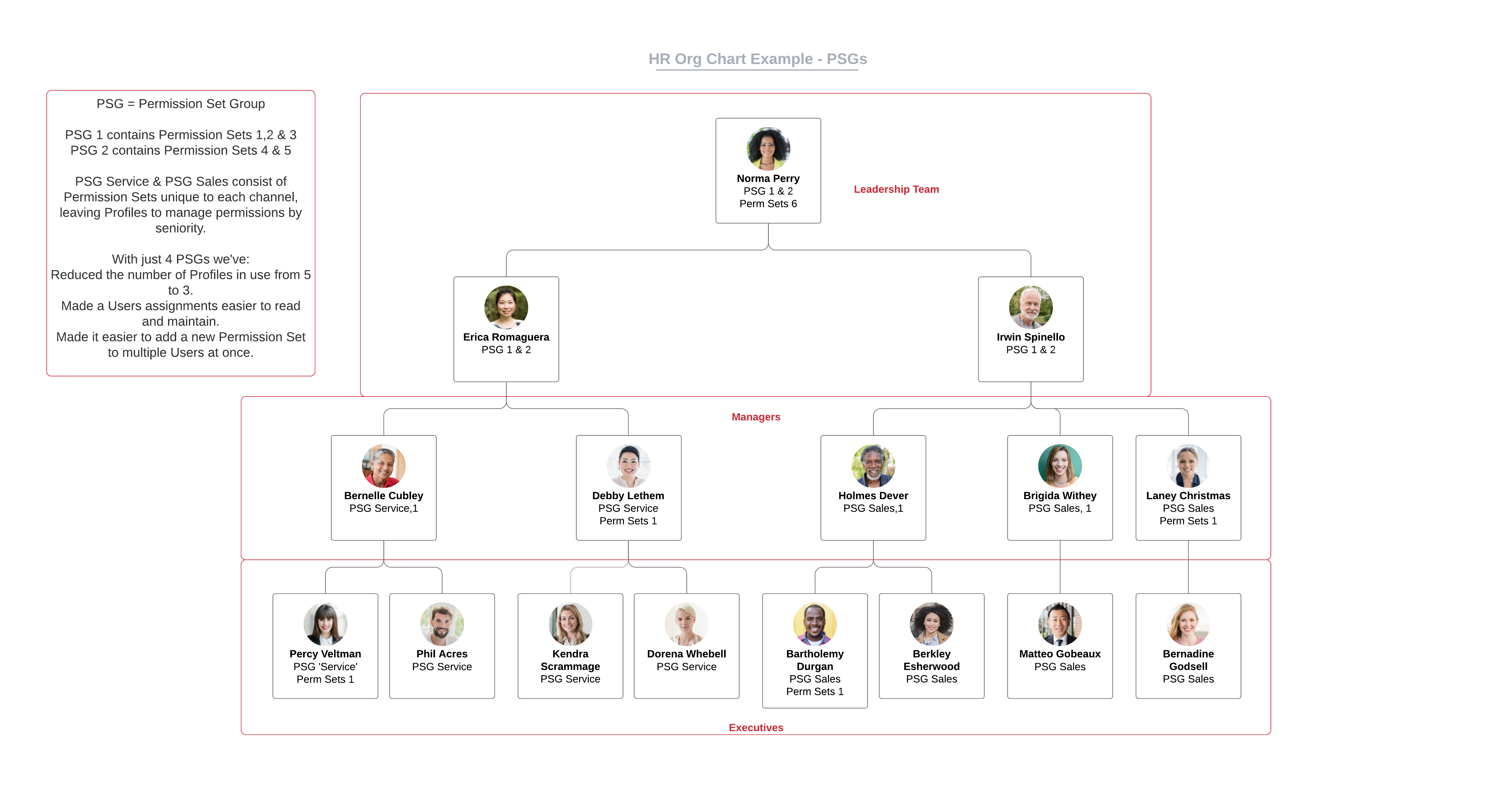 HR Org Chart Example using Permission Set Groups