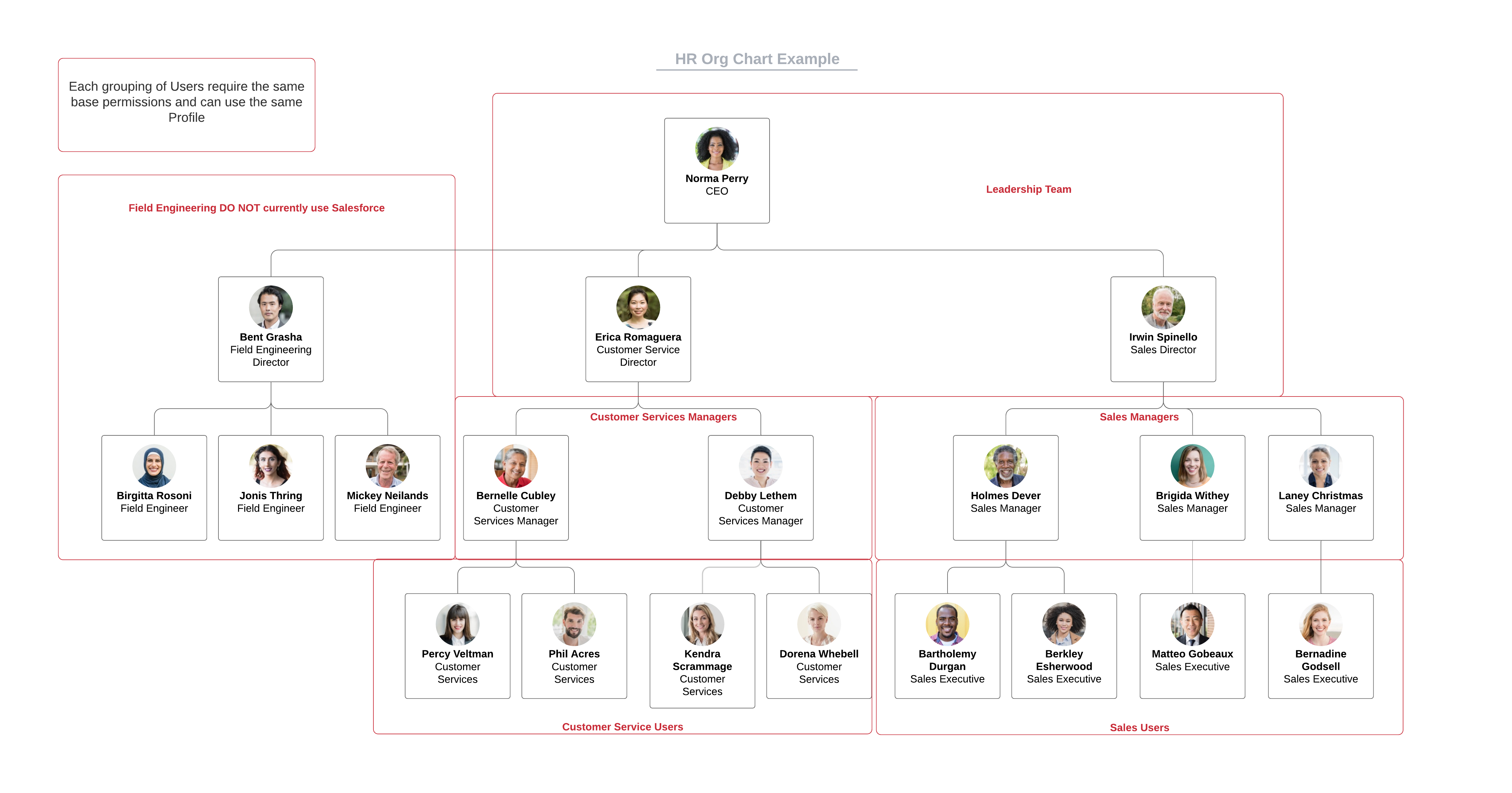 HR Org Chart Example using Profiles