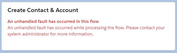An Unhandled Fault Error Message