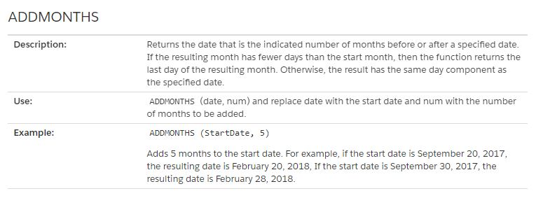 The Salesforce ADDMONTHS function